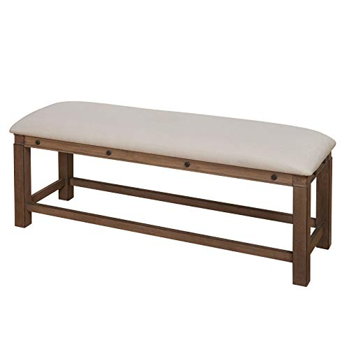 (The Mezzanine Shoppe 66220WGR Kinley Mid Century Modern Fabric Upholstered Dining Room Bench, 20.5