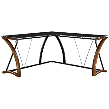 Whalen Furniture JCS110605-D Newport Wood/Glass L-Shaped Desk