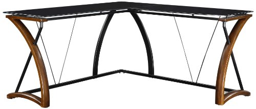 port Wood & Glass L-Shaped Office Computer Desk (Glass Office Furniture)