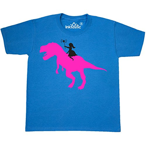 Dinosaurs Youth T-shirt (Inktastic - Princess riding her Youth T-Shirt Youth Medium (10-12) Pacific Blue)