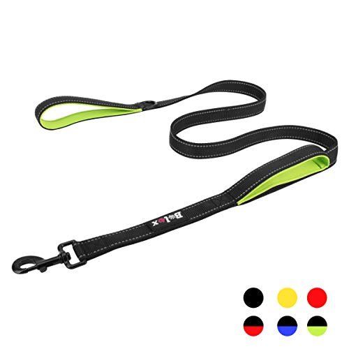 Bolux Traffic Control Dual Padded Handle Heavy Duty 3M Reflective Dog Leash 5ft Long Training Leash Lead Greater Control Safety Training Perfect for Large Medium Dogs (Black+Green)