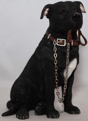 WALKIES BLACK STAFFIE SITTING DOG ORNAMENT FIGURINE BY LEONARDO