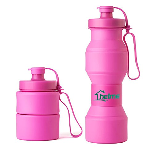 HELME Collapsible Water Bottle 27 OZ,Food Degree Folding BPA Free Silicon water Bottle 800ml FDA Great Partner for Sports ,Outside Working & Travel purple Pink
