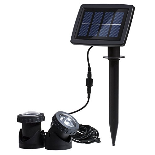 (RivenAn Waterproof Solar Energy Powered 12 LED Spotlight with 2 Submersible Lamps for Outdoor Garden Pool Pond Spot Lamp Light, White)
