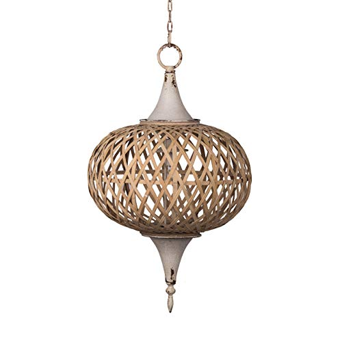 A&B Home Organic Element Vintage Glamour Natural Chandelier - Features White-Washed Metal Finish with Beautifully Woven Bamboo Shade