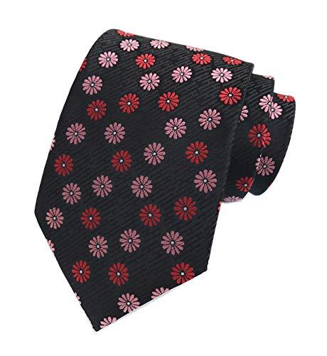 Men Black Slim Tie Narrow Pink Red Floral Jacquard Woven Office Matching Necktie