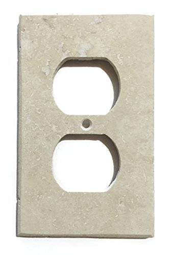 Ivory Light Travertine Switch Plate Cover (SINGLE DUPLEX)