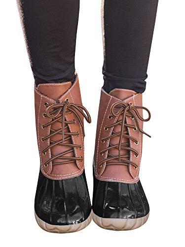 Womens Duck Boots Lace Up Combat Waterproof Low Heel Rain Snow Outdoor Shoes