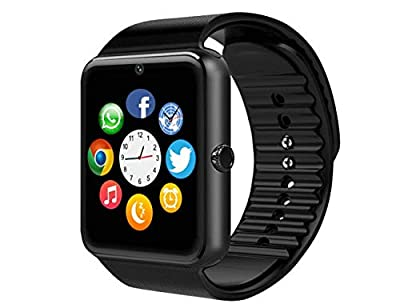 MSRMUS Smart Watch Compatible for iPhone 5s/6/6s/7/7s and Android 4.3 Above, Anti Theft Water Splash Resistant and Handfree and Pedometer Fitness Tracker (Partial Functions)-GT08 (Black)