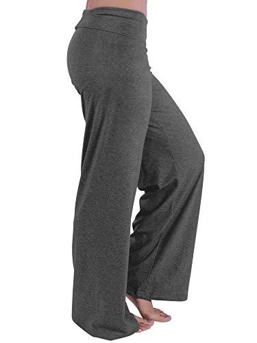 Hali Cali Women's Straight Casual Loose Wide Leg fold Over Comfy Palazzo Pants for Women (S, Charcoal Plain Palazzo)