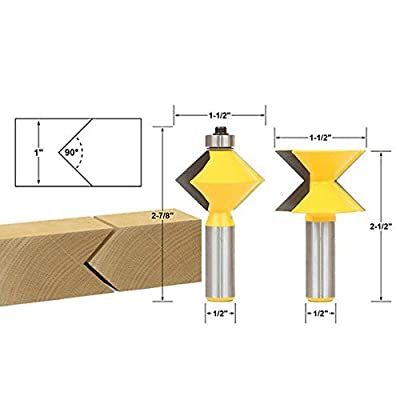 ACEBOX 1/2-Inch Shank 2 PCS OF Edge Banding Router Bit Set with V-Design Tongue and Groove