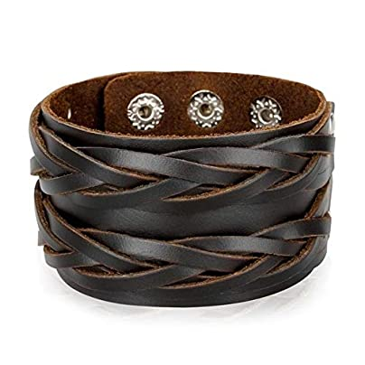 XIAOHA Men S Bracelet Vintage Genuine Leather Wide Cuff Men S Bracelet Punk Ornament Bangle Male Wristbands Gift Fashion Jewelry Accessories Estimated Price £16.99 -