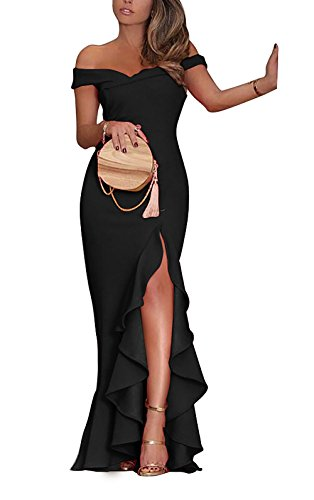 PRETTYGARDE Womens Off Shoulder Flouncing Mermaid Formal Prom Gowns High Low Party ()