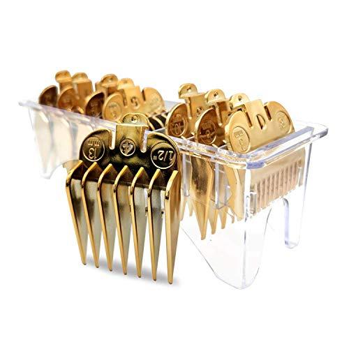 "AIRERA 8 Profesionales recortadores de cabello profesionales de color/cortadoras codificadas con clipper Guías Peines #3170-400- 3-25mm""para cortadores Wahl (Dorado)"