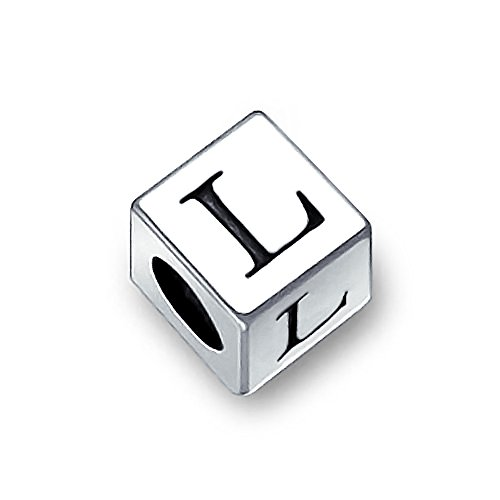 Sterling Silver Block (Bling Jewelry 925 Sterling Silver Block Letter L Initial Bead Charm)