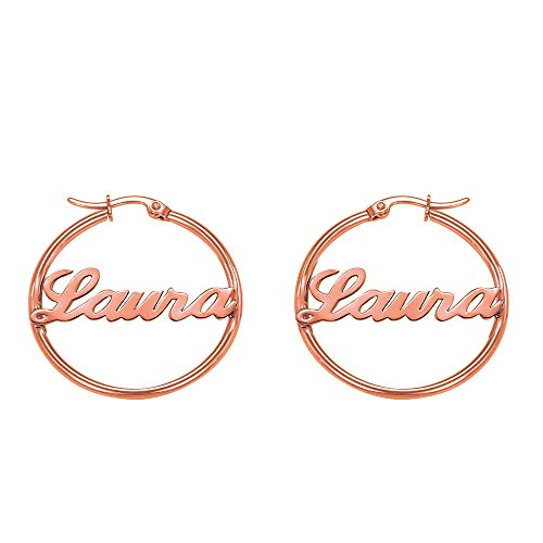 Earrings Style Name - Personalize it with Name Earrings for Women Gothic Style Monogram Hoop Earring Personalized Name Earring Custom Made with Any Name (Rose Gold)