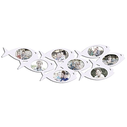 Adeco Decorative White Wood Wall Hanging Collage Picture Photo Frame, School of Fish, 8 Oval Openings, 4x6'' by Adeco