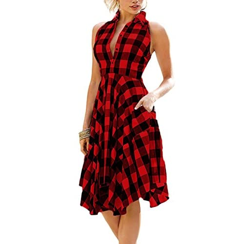 ef4a399d72b low-cost Wearlove Women Sleeveless Asymmetrical Hem Pockets Plaid Pleated  Casual Shirt Dress