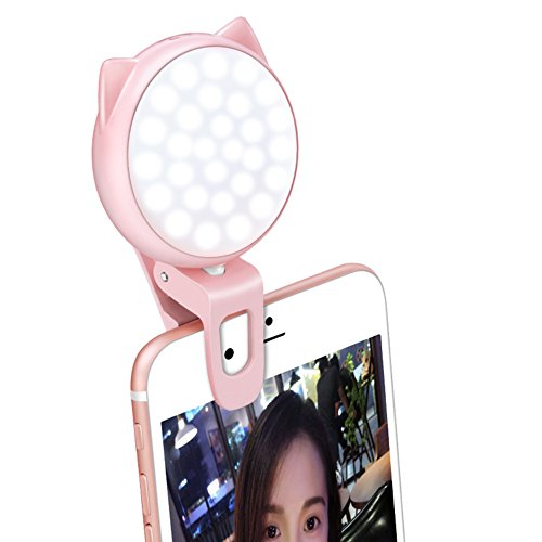 HaloVa Selfie Light, Rechargeable Clip-on Selfie LED Camera Light, Portable Photography Fill Light with 3 Light Mode 9-Level Brightness Cool Warm Lighting for iPhone Samsung etc, Pink by HaloVa