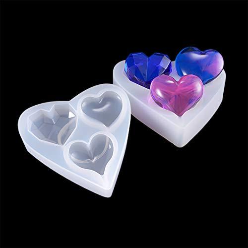 (Finelnno 1pc Casting Resin Mold Heart Shaped Mold Epoxy Silicone Mold for Necklace, Diamond, Pendant and Jewelry Making DIY (1 Heart Shaped Mold))