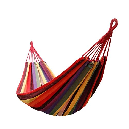 Airblasters Double Wide Hammock Cotton Fabric Travel Camping Hammock 2 Person (Red)