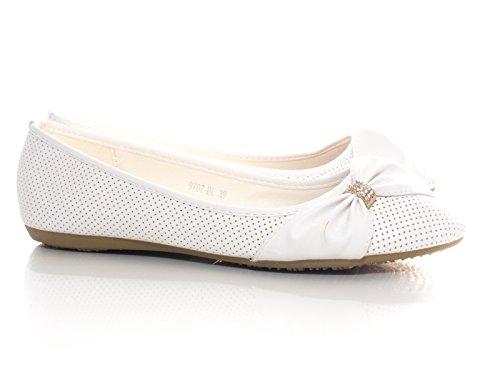 Damen Ballerina Halbschuhe Slipper Mokassin Weiß # 9707