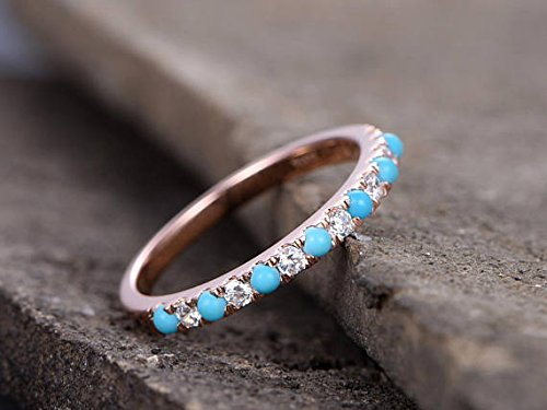 Turquoise Wedding Band Round CZ 925 Sterling Silver Rose Gold Plated Bridal Stacking Ring Stackable by Milejewel Wedding Band (Image #2)