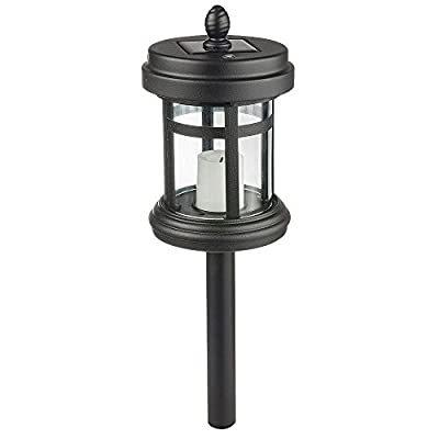 Hampton Bay Solar Powered Black LED Cast Aluminum Path Light (4-Pack)