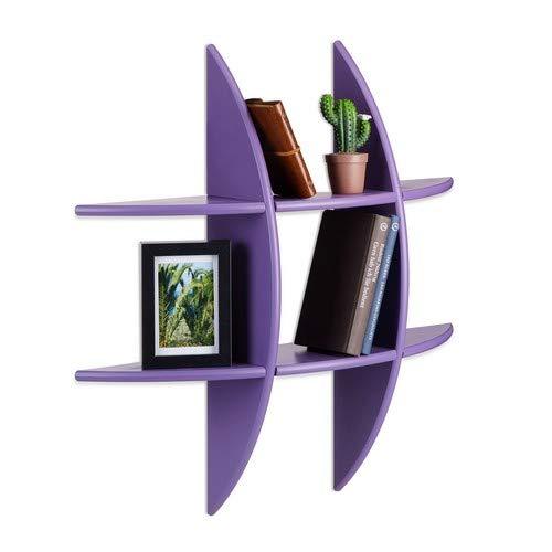 Relaxdays Round Wall Shelf with 6 Compartments, Floating Shelf, Decorative Spice Rack, CD Shelf, Bookcase, Purple (Purple Bookshelf)