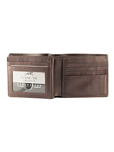 Secure Leather Center Wallet Mancini RFID Brown Secure RFID Men's Wing Center Men's Wing Mancini HtBtgqw