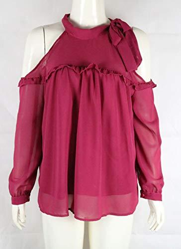 Rond Fashion Haut Blouse Col Bandage Manches Rouge Automne Tumblr Shirts Chemisiers Casual et Rose Longues Dnude paule Tops Monika Printemps Femme Tee nYnC8