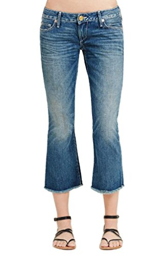 True Religion Womens Karlie Cuym Blue Low-Rise Bell Bottom Crop, 28, Blue