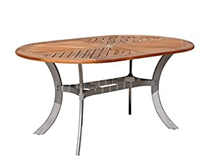 Amazoncom Courtyard Casual Natural Finish Burma Teak And Aluminum - Teak and aluminium outdoor table