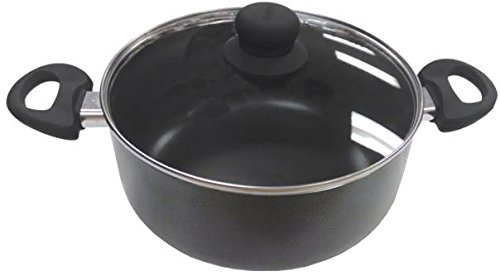 Imusa 12.7 Quart Charcoal Stock Pot with Glass Lid and Black