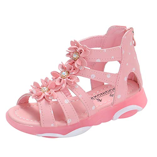 WENSYInfant Baby Children's Clothing Baby Girl Water Wafer Point Flower Zipper Single Princess Shoes Sandals(Pink,32)