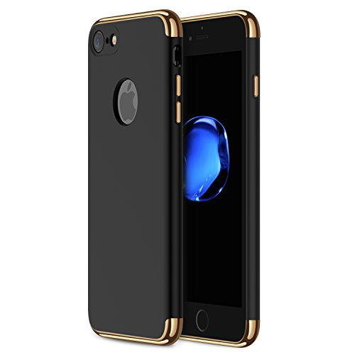 iPhone 7 Case RANVOO 3-in-1 Stylish Thin Hard Slim Fit Case with 3 Detachable Parts for Apple iPhone 7 Only, CHROME GOLD and MATTE BLACK, [CLIP-ON] (Stylish Case Iphone)
