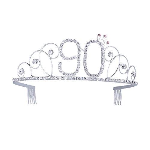 Frcolor 90th Birthday Tiara Crystal Rhinestone Women 90th Birthday Crown with Combs