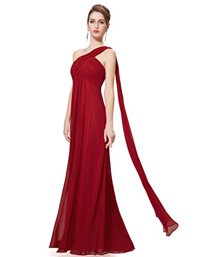 Ever-Pretty Womens One Shoulder Empire Waist Long Prom Dress 6 US Burgundy