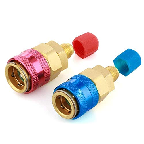 "Bang4buck Set of 2 A/C Adapter Connector Low and High Conversion Kit 1/2"" Acme Female x 1/4"" SAE Male (Direct Coupler)"