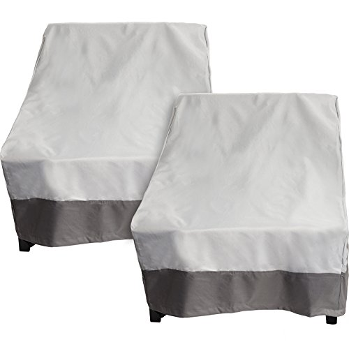 2 Pack Deep Chair Patio Cover - Outdoor Furniture Cover (Grey w/ Dark Grey Trim)