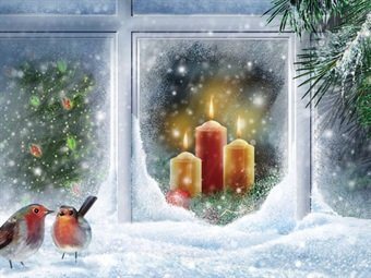 So Pretty Large Illuminated Snowy Christmas Winter Frosted Window ...