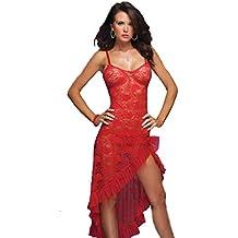 Letdown Ladies Women Sexy Lace Solid Color Long Fishtail Dress Temptation Lingerie Underwear Sleepwear Nightwear Dress+ G-String (2XL, Red)