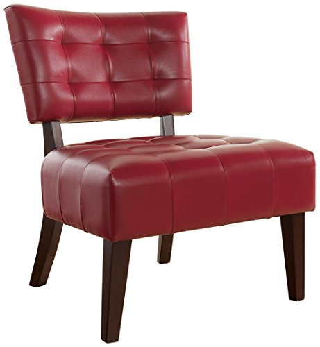 Roundhill Furniture Blended Leather Tufted Accent Chair with Oversized Seating (Red Leather Contemporary Chair)