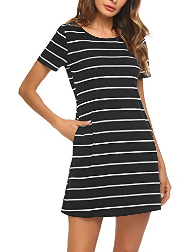 Feager Women's Casual Striped Criss Cross Short Sleeve T Shirt Dress with Pockets Black, L