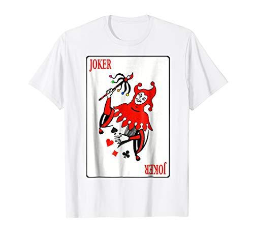 Mens Vintage Joker Playing Cards Tee Shirt Design Costume 2XL White -
