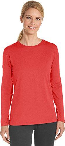 Coolibar UPF 50+ Women's Long Sleeve T-Shirt - Sun Protective (X-Small- Poppy Red) (Women Quality Red T-shirt)