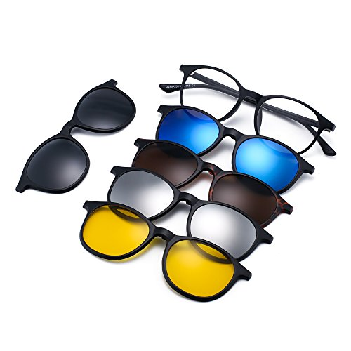 Magnetic 5Pcs Polarized Clip-on Sunglasses Round Plastic Frame for Night Driving ()