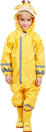 Muddy Buddy Kids One-Piece Waterproof Raincoat Siamese Rain Jacket Hooded Reflection Lightweight Rainsuit