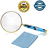 5X Handheld Magnifier,Metal Frame Real Glass Magnifying Glass for Reading Book, Map,Inspection, Coins, Insects, Small Prints,Classroom Science Senior Kids Chirldren