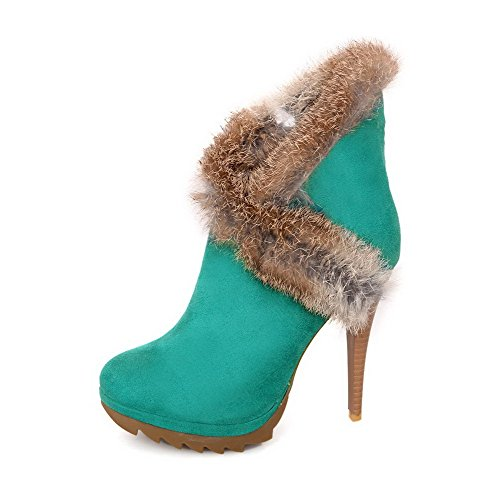 High Women's Allhqfashion Heels Round Toe top Low Chains Green Boots Blend Materials Closed 1XqRp1